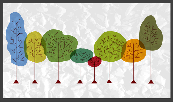 vector illustration of colorful hand drawn trees