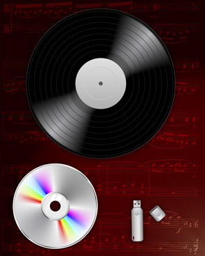 vector illustration of development of music record technology