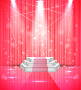 vector illustration of sparkle stage under limelight