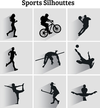 vector illustration of sports silhouttes icons