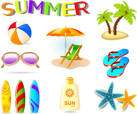 vector illustration of summer holiday icons