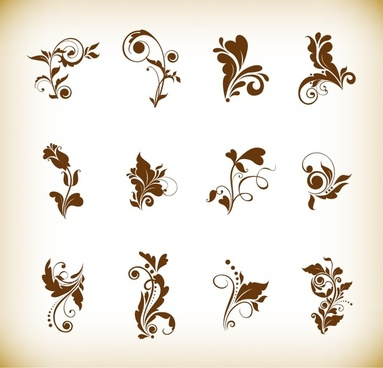vector illustration set of floral elements for your design