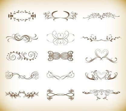 vector illustration set of ornate design elements