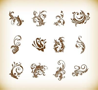 vector illustration set of swirl floral elements for design