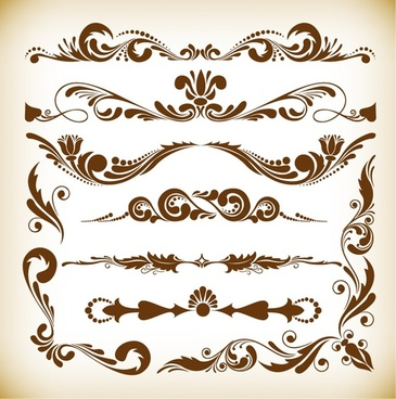 vector illustration set of vintage ornament elements