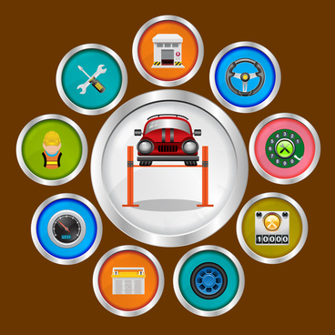 vector illustration with set of car icons in flat design