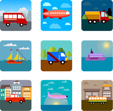 vector illustration with transportation icons in flat design