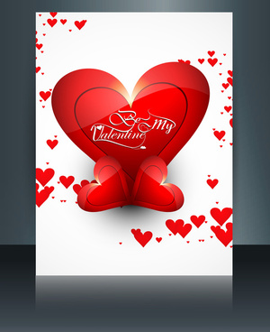 vector illustrations valentines day for brochure template heart colorful background