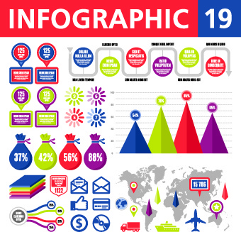 vector infographics and chart set
