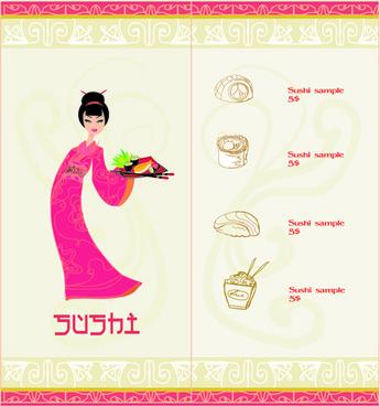 vector japan sushi menu templates