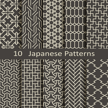 vector japanese style seamless patterns