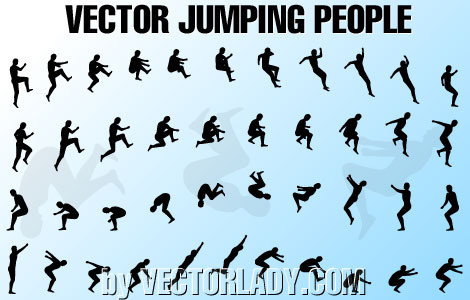 vector jumping people silhouette