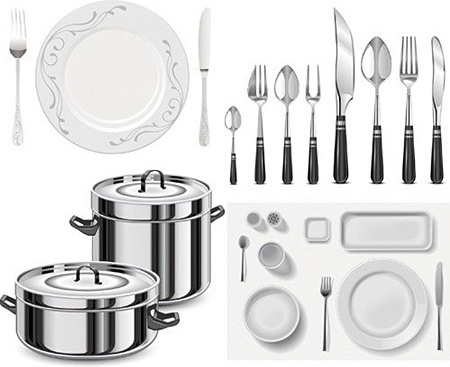 kitchen utensils icons collection realistic shiny style - Kitchen Wares