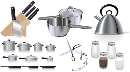 kitchenware icons collection realistic colored design