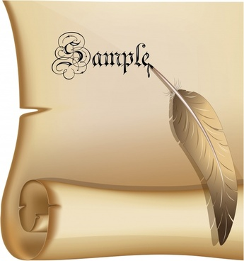 frame template vintage paper scroll feather pen decor