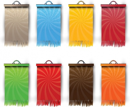 decorative hang cloth templates colorful flat sketch