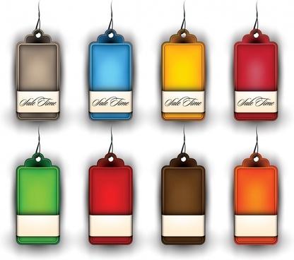 hang tags templates shiny modern colorful shaped