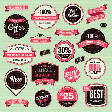 vector labels discounts sale set