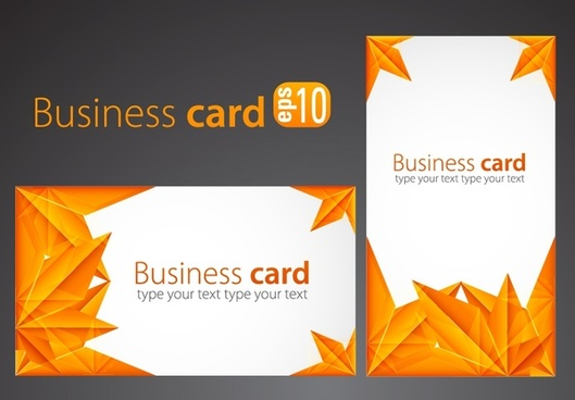 business card templates orange leaves decor modern design