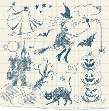 halloween design elements flat handdrawn sketch