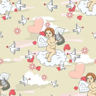vector line art illustration cupid angel