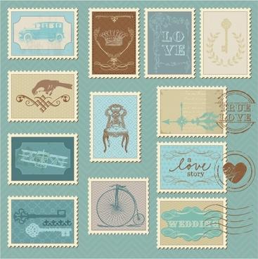 vector line art illustration stamp pattern