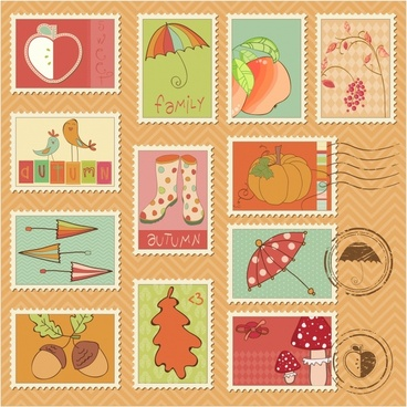nature stamps collection colorful handdrawn classical themes