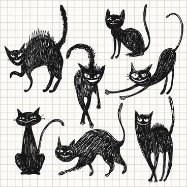 vector line art painted cat