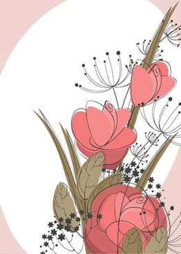 floral background template flat classical handdrawn