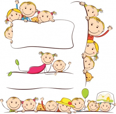 vector line drawing artwork cartoon children
