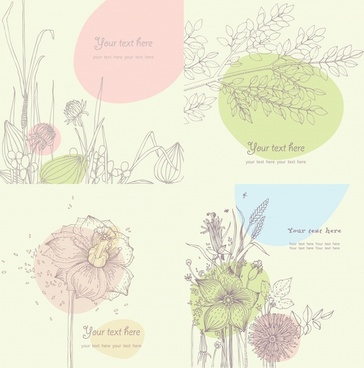 flora card templates classical handdrawn sketch