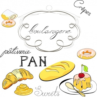 bakery design elements handdrawn icons sketch