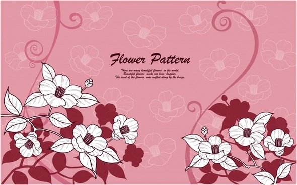 flowers background classical pink decor petals sketch