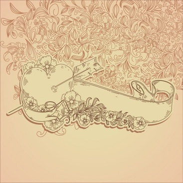 romance background retro 3d ribbon heart flowers sketch