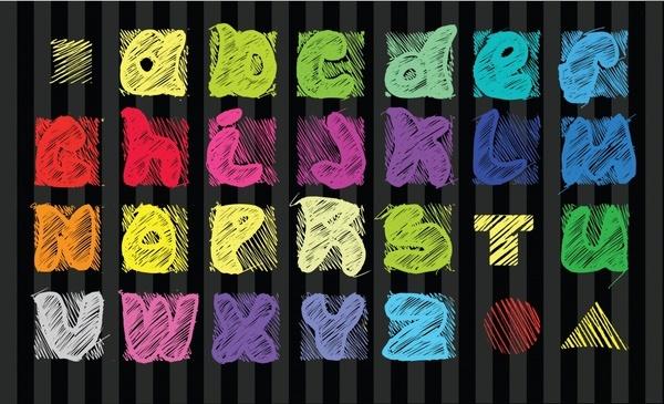 educational alphabet background colorful handdrawn fonts design