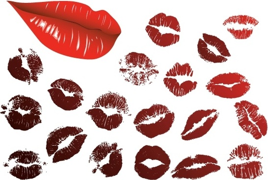 lips and kiss collection vector illustration