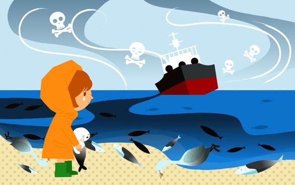 environmental banner girl marine species ship sea icons