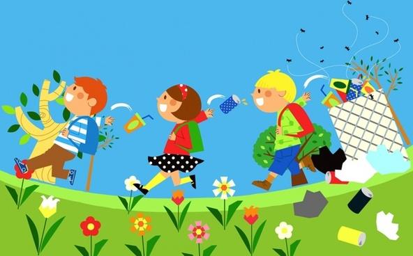environment banner children waste icons cartoon design