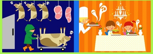 food preservation banners funny cartoon sketch