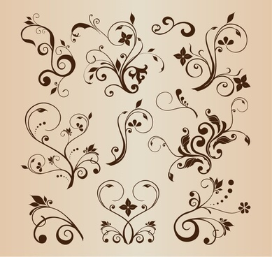 vector llustration set of swirling flourishes decorative floral elements