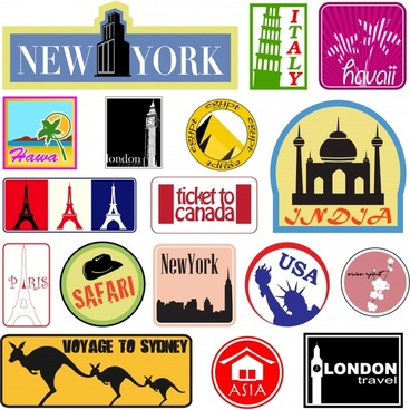 labels templates travel theme landmark icons classical design