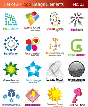 logo templates modern design multicolored 3d flat shapes