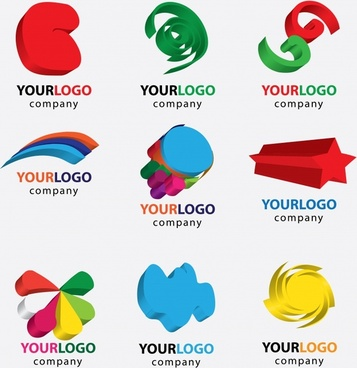logotypes collection colored 3d shapes ornament