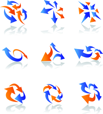 vector logo of abstract arrow design elements