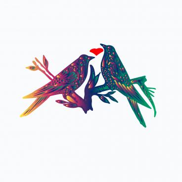 vector love bird colurful