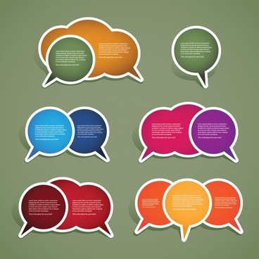 speech bubbles badge templates colorful modern flat design