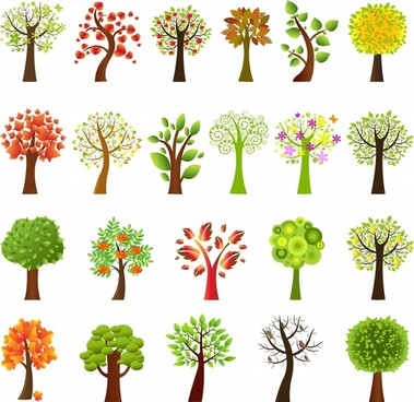trees icons colorful modern design