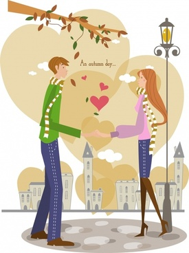 dating couple vector blooming hearts decor colorful design