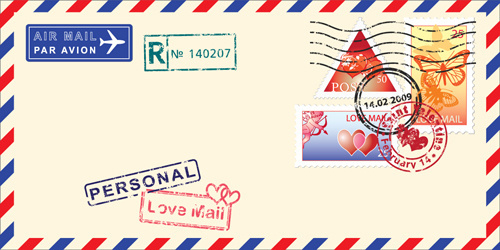 vector mail envelope elements set