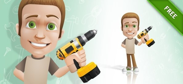 vector man holding a drill